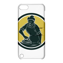 African American Woman Ironing Clothes Woodcut Apple Ipod Touch 5 Hardshell Case With Stand