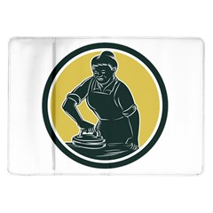 African American Woman Ironing Clothes Woodcut Samsung Galaxy Tab 10 1  P7500 Flip Case