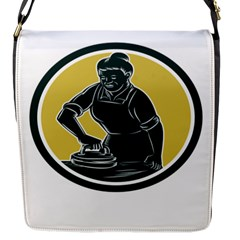 African American Woman Ironing Clothes Woodcut Flap Closure Messenger Bag (Small)