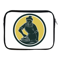 African American Woman Ironing Clothes Woodcut Apple iPad Zippered Sleeve