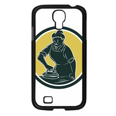 African American Woman Ironing Clothes Woodcut Samsung Galaxy S4 I9500/ I9505 Case (Black)
