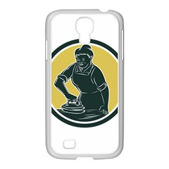 African American Woman Ironing Clothes Woodcut Samsung Galaxy S4 I9500/ I9505 Case (white)