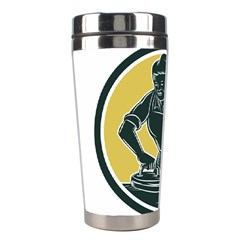 African American Woman Ironing Clothes Woodcut Stainless Steel Travel Tumbler