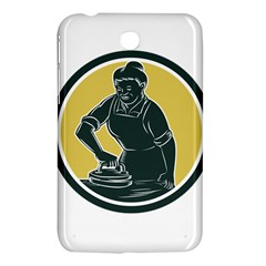 African American Woman Ironing Clothes Woodcut Samsung Galaxy Tab 3 (7 ) P3200 Hardshell Case