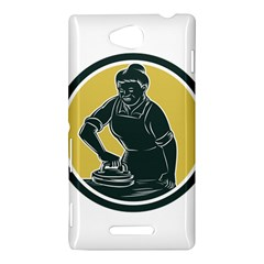 African American Woman Ironing Clothes Woodcut Sony Xperia C (S39H) Hardshell Case