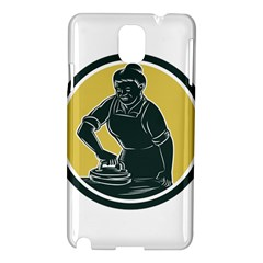 African American Woman Ironing Clothes Woodcut Samsung Galaxy Note 3 N9005 Hardshell Case