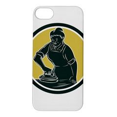 African American Woman Ironing Clothes Woodcut Apple iPhone 5S Hardshell Case