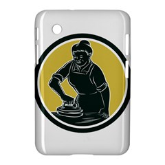 African American Woman Ironing Clothes Woodcut Samsung Galaxy Tab 2 (7 ) P3100 Hardshell Case