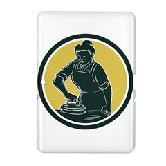 African American Woman Ironing Clothes Woodcut Samsung Galaxy Tab 2 (10.1 ) P5100 Hardshell Case