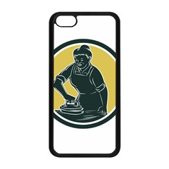 African American Woman Ironing Clothes Woodcut Apple Iphone 5c Seamless Case (black)