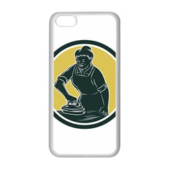 African American Woman Ironing Clothes Woodcut Apple iPhone 5C Seamless Case (White)