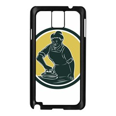African American Woman Ironing Clothes Woodcut Samsung Galaxy Note 3 N9005 Case (Black)