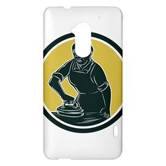 African American Woman Ironing Clothes Woodcut HTC One Max (T6) Hardshell Case