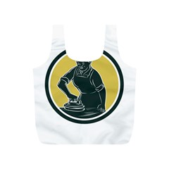 African American Woman Ironing Clothes Woodcut Reusable Bag (S)
