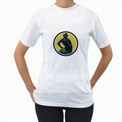 African American Woman Ironing Clothes Woodcut Women s T-Shirt (White)