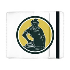African American Woman Ironing Clothes Woodcut Samsung Galaxy Tab Pro 8.4  Flip Case
