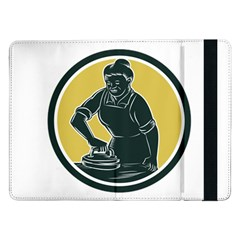 African American Woman Ironing Clothes Woodcut Samsung Galaxy Tab Pro 12.2  Flip Case