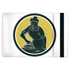 African American Woman Ironing Clothes Woodcut Apple iPad Air Flip Case
