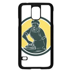 African American Woman Ironing Clothes Woodcut Samsung Galaxy S5 Case (Black)
