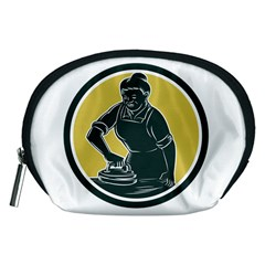 African American Woman Ironing Clothes Woodcut Accessory Pouch (medium)