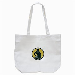 African American Woman Ironing Clothes Woodcut Tote Bag (White)