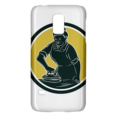 African American Woman Ironing Clothes Woodcut Samsung Galaxy S5 Mini Hardshell Case