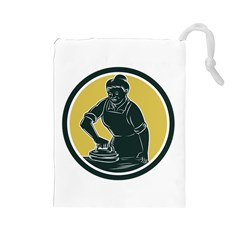 African American Woman Ironing Clothes Woodcut Drawstring Pouch (Large)