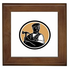 Carpenter Holding Hammer Woodcut Framed Ceramic Tile