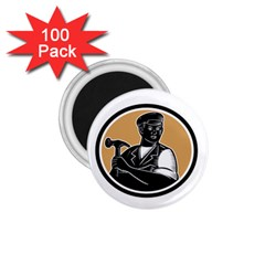 Carpenter Holding Hammer Woodcut 1 75  Button Magnet (100 Pack)