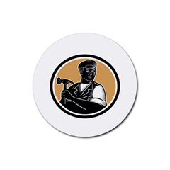 Carpenter Holding Hammer Woodcut Drink Coasters 4 Pack (round)