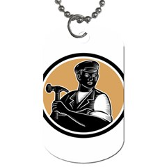 Carpenter Holding Hammer Woodcut Dog Tag (One Sided)