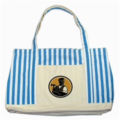 Carpenter Holding Hammer Woodcut Blue Striped Tote Bag