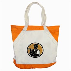 Carpenter Holding Hammer Woodcut Accent Tote Bag