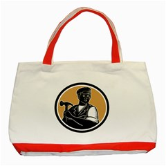 Carpenter Holding Hammer Woodcut Classic Tote Bag (Red)
