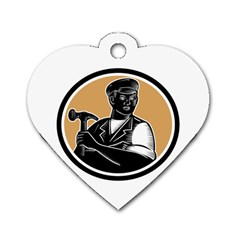 Carpenter Holding Hammer Woodcut Dog Tag Heart (Two Sided)