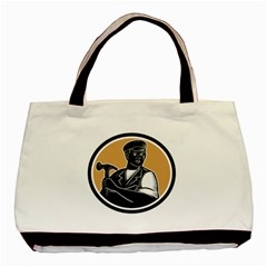 Carpenter Holding Hammer Woodcut Twin-sided Black Tote Bag