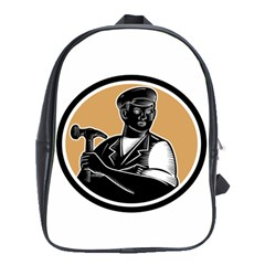 Carpenter Holding Hammer Woodcut School Bag (large)