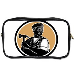 Carpenter Holding Hammer Woodcut Travel Toiletry Bag (two Sides)