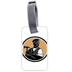 Carpenter Holding Hammer Woodcut Luggage Tag (One Side)