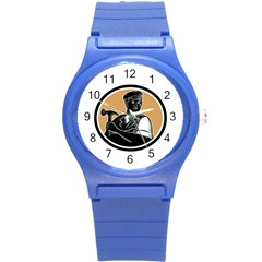 Carpenter Holding Hammer Woodcut Plastic Sport Watch (Small)
