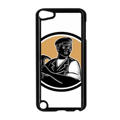 Carpenter Holding Hammer Woodcut Apple Ipod Touch 5 Case (black)