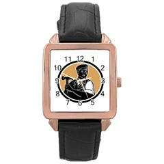 Carpenter Holding Hammer Woodcut Rose Gold Leather Watch