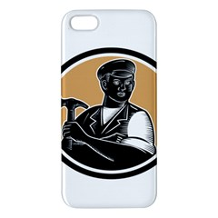 Carpenter Holding Hammer Woodcut Apple Iphone 5 Premium Hardshell Case