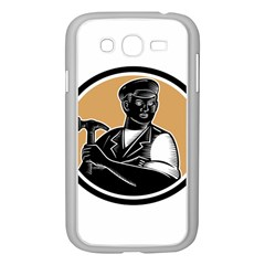 Carpenter Holding Hammer Woodcut Samsung Galaxy Grand Duos I9082 Case (white)