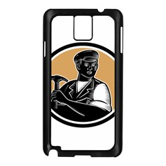Carpenter Holding Hammer Woodcut Samsung Galaxy Note 3 N9005 Case (Black)