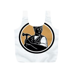 Carpenter Holding Hammer Woodcut Reusable Bag (S)