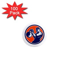 Bodybuilder Lifting Kettlebell Woodcut 1  Mini Button Magnet (100 pack)