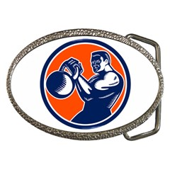 Bodybuilder Lifting Kettlebell Woodcut Belt Buckle (Oval)