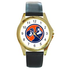 Bodybuilder Lifting Kettlebell Woodcut Round Leather Watch (gold Rim)