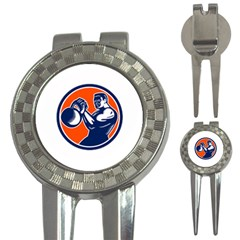 Bodybuilder Lifting Kettlebell Woodcut Golf Pitchfork & Ball Marker